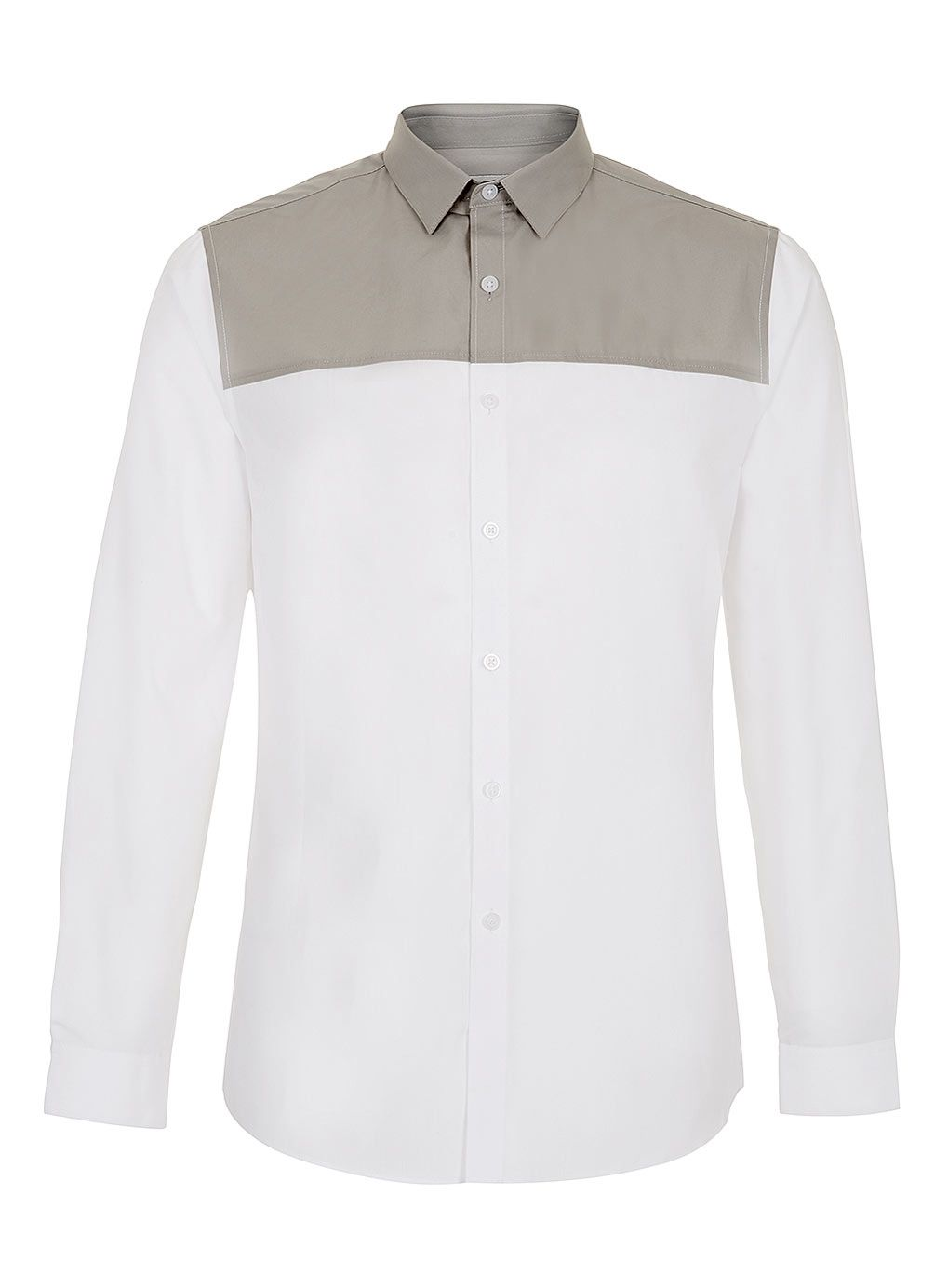 White Grey Yoke Long Sleeve Smart Shirt - Men's Shirts - Clothing - TOPMAN USA