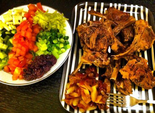 Grilled spring lamb, greek cobb salad, confit red onion