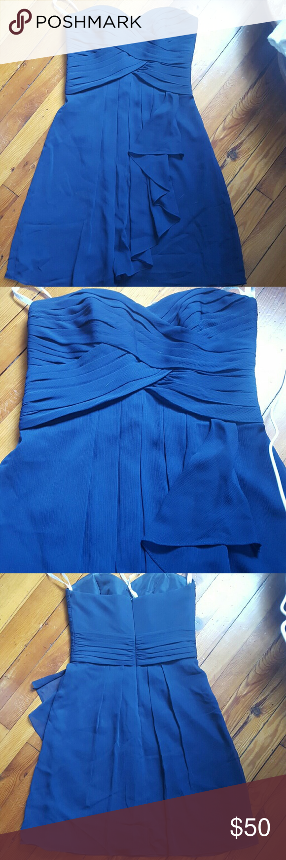 Chiffon bridesmaid dress Worn once, still in amazing condition but could use a dry cleaning. Navy Blue chiffon dress, very flattering cut! David's Bridal Dresses Wedding