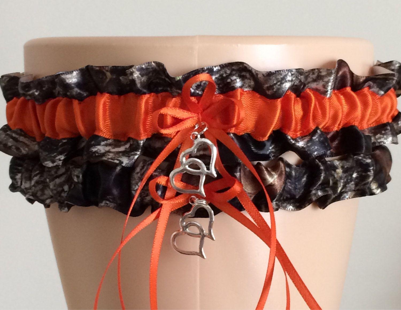 Bridal Garter Set Camouflage Camo Blaze orange MOSSY OAK