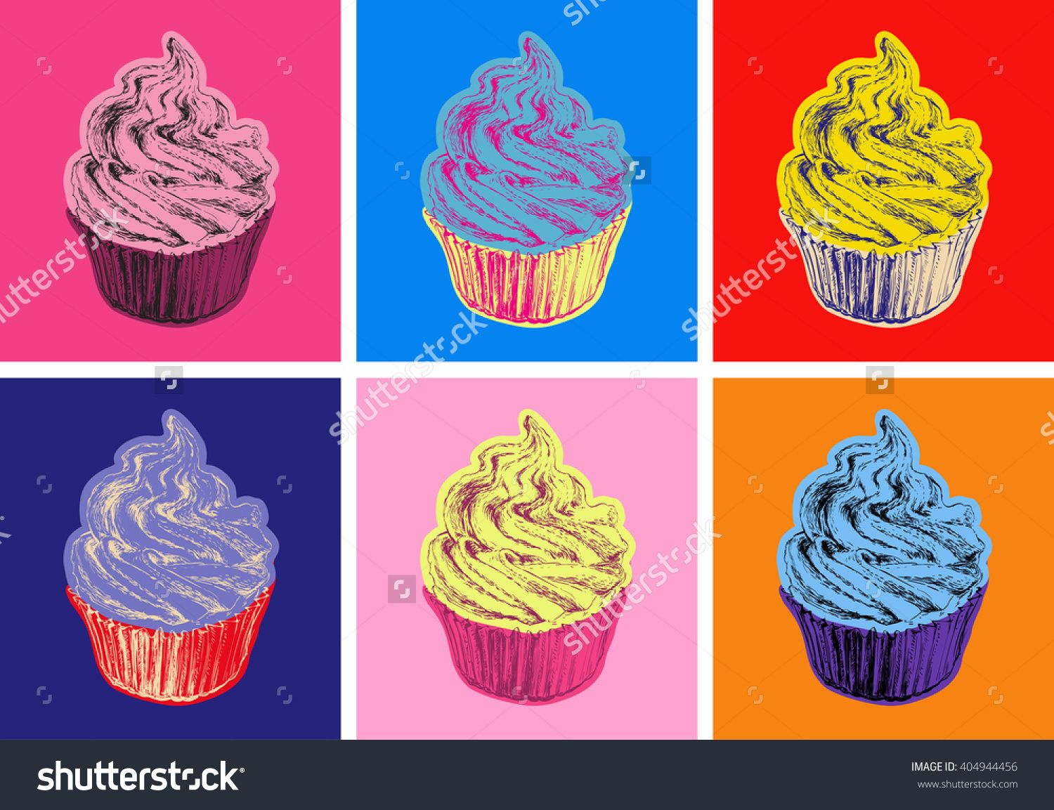 Set Of Cupcake Vector Illustration Pop Art Style Andy