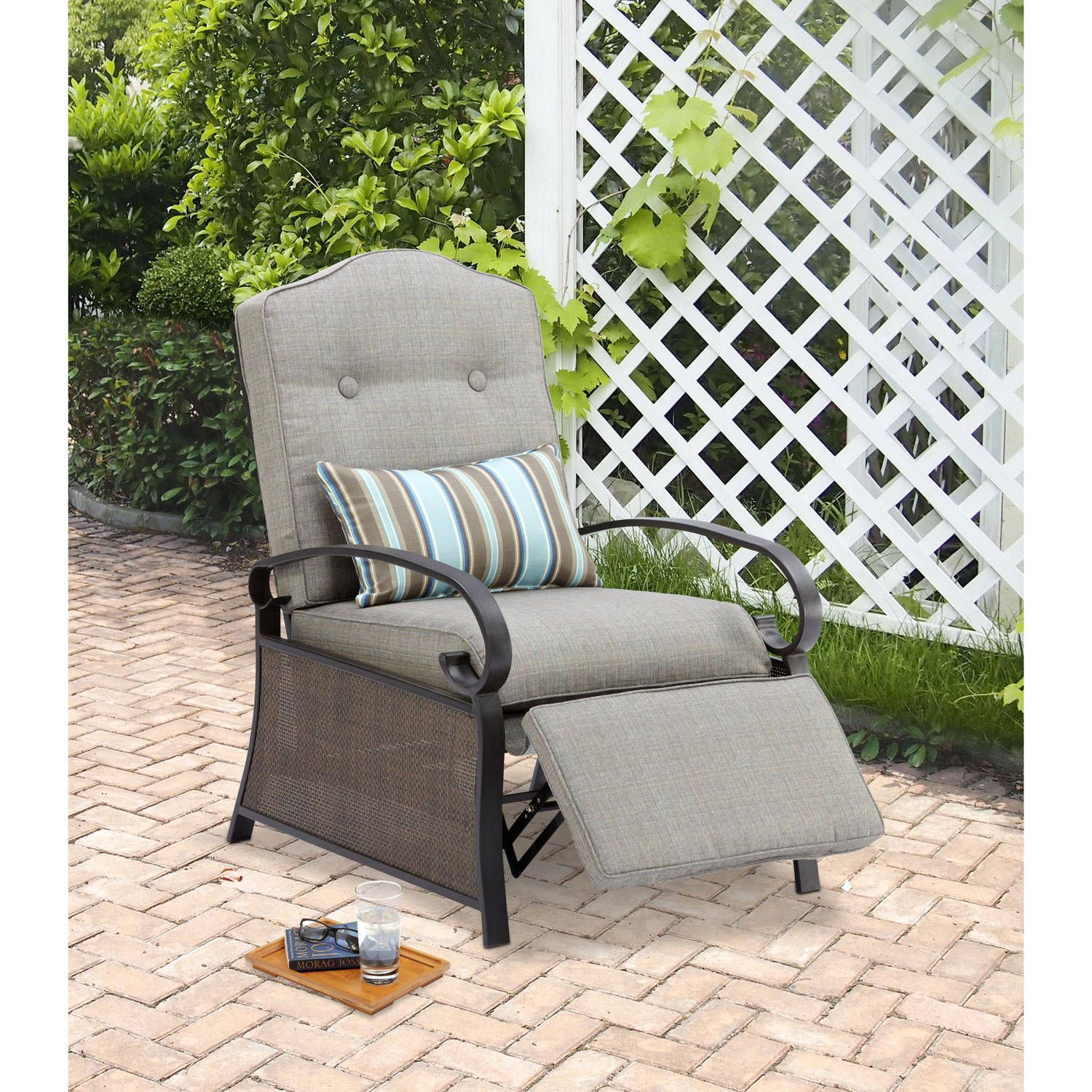 Make The Most Of Your Leisure Time With The Mainstays Outdoor Recliner. The  Seat Features Adjustable Positions And Weather Resistant Cushions.
