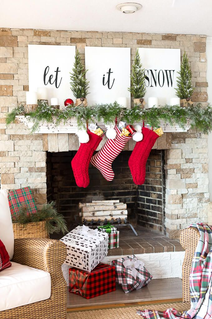 beautiful christmas mantel decorating ideas - Beautiful Christmas Mantel Decorations