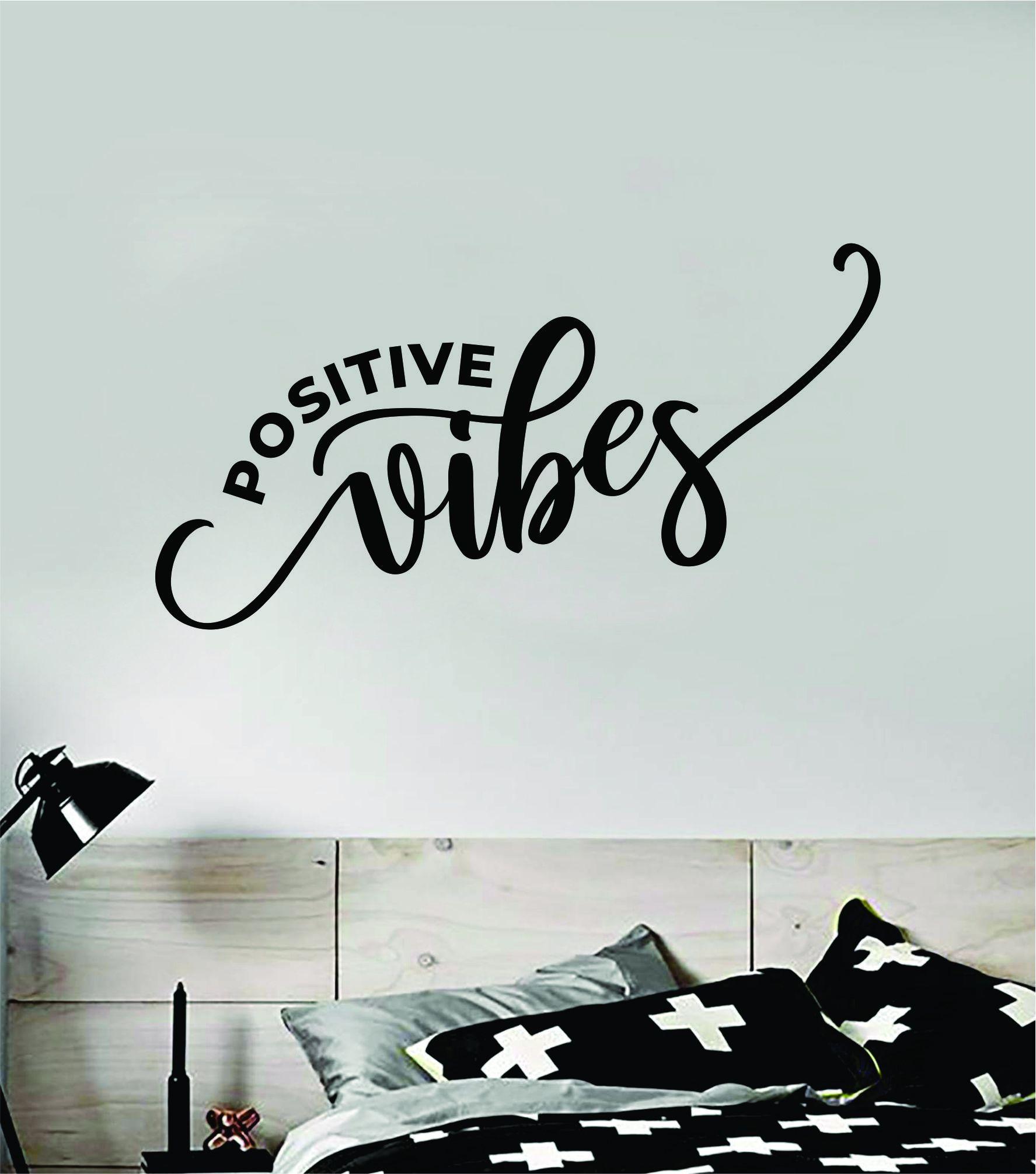 Positive Vibes Wall Decal Sticker Vinyl Art Bedroom Room Home Decor Inspirational Motivational School Teen Baby Nursery Kids Happy Smile - brown