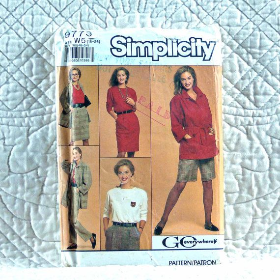 9773 SIMPLICITY Uncut PATTERN 1990 Women Straight Leg Pants Shorts Slim Skirt Pullover Top Loop Button Shirt-Jacket Size 18 20 22 24 26 5-oz...