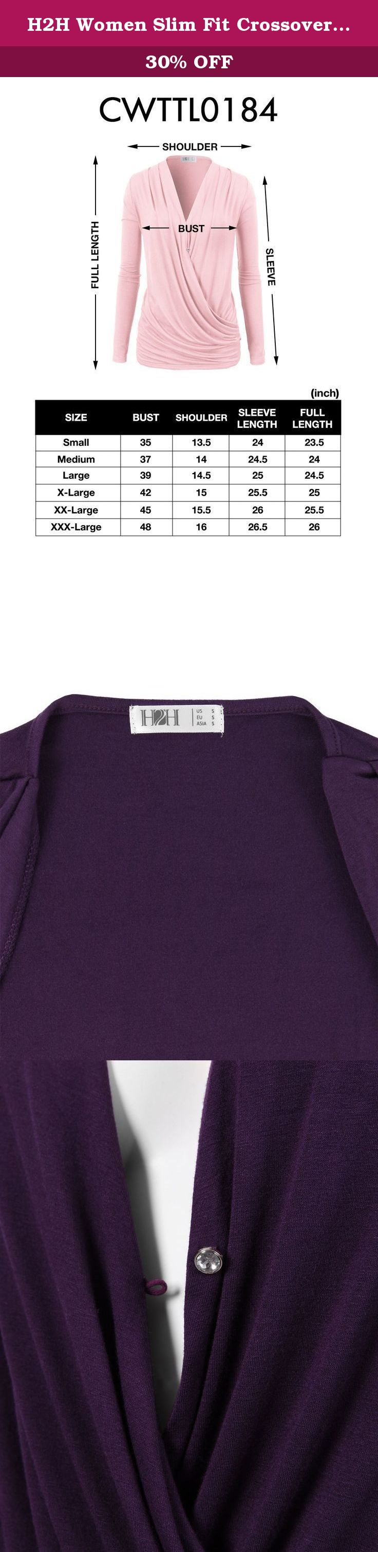H2H Women Slim Fit Crossover V-neck Ruched Long Sleeve Blouse With Solid Colors PURPLE US L/Asia L (CWTTL0184). This is a highly recommended H2H style blouse t-shirts, comfortable, soft skin friendly, and relaxed silhouette. Good of brand H2H process high quality fabric and fine workmanship. And we have rich offer. *Womens Cross-front V-neck Ruched Long Sleeve Blouse Top compact and casual everyday piece of statement. *It is good a great gift for your best friend, significant other, or...