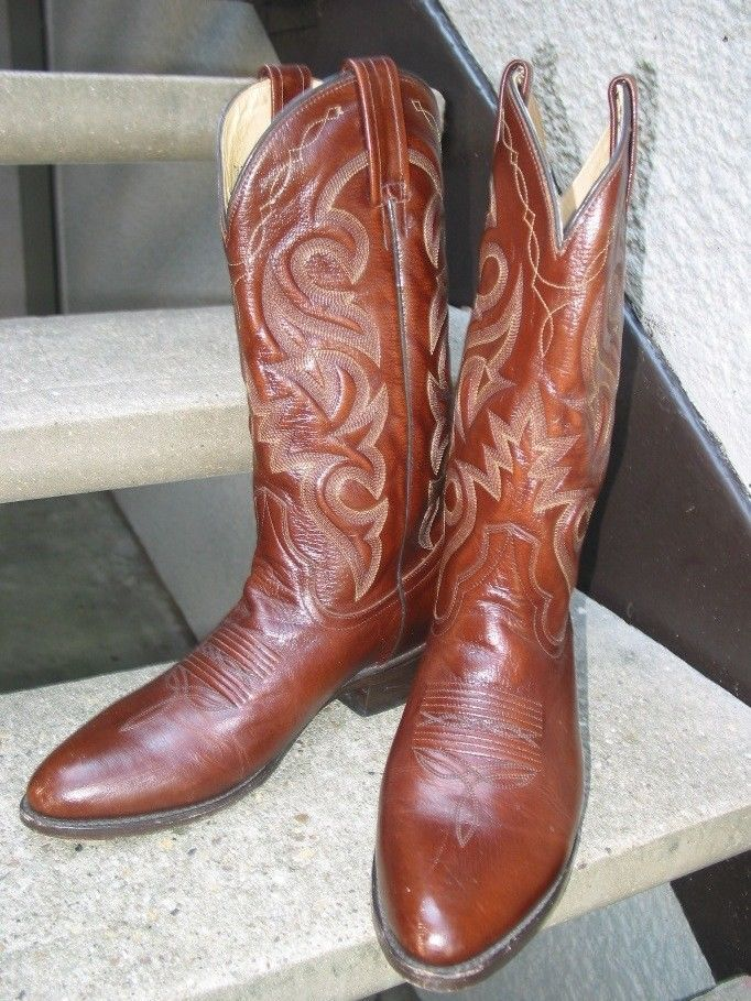 f1b72e332e0 DAN POST Mens Brown Leather Cowboy Boots Mens Used Boots 8 D ...