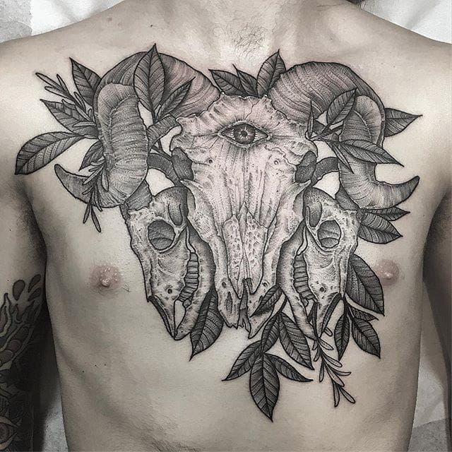 Kyle Stacher S Stippled Shaded Simple Yet Detailed Blackwork Animal Skull Tattoos Chest Piece Tattoos Subtle Tattoos