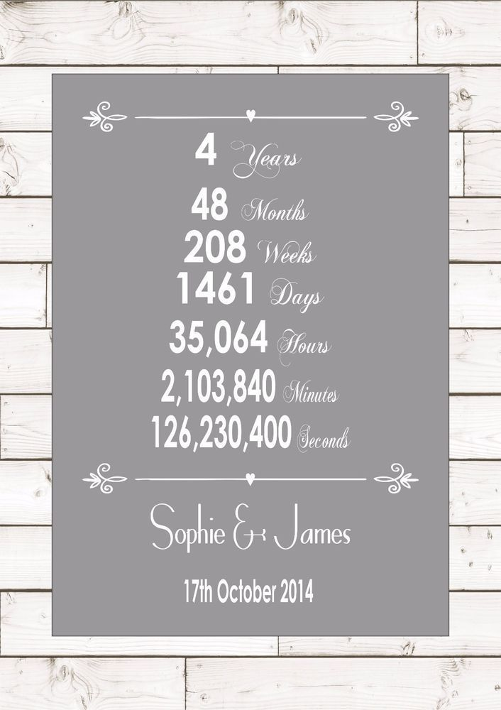 Anniversary Fourth Four 4 Years Year Wedding Personalised 4th Word Gift Present  | eBay