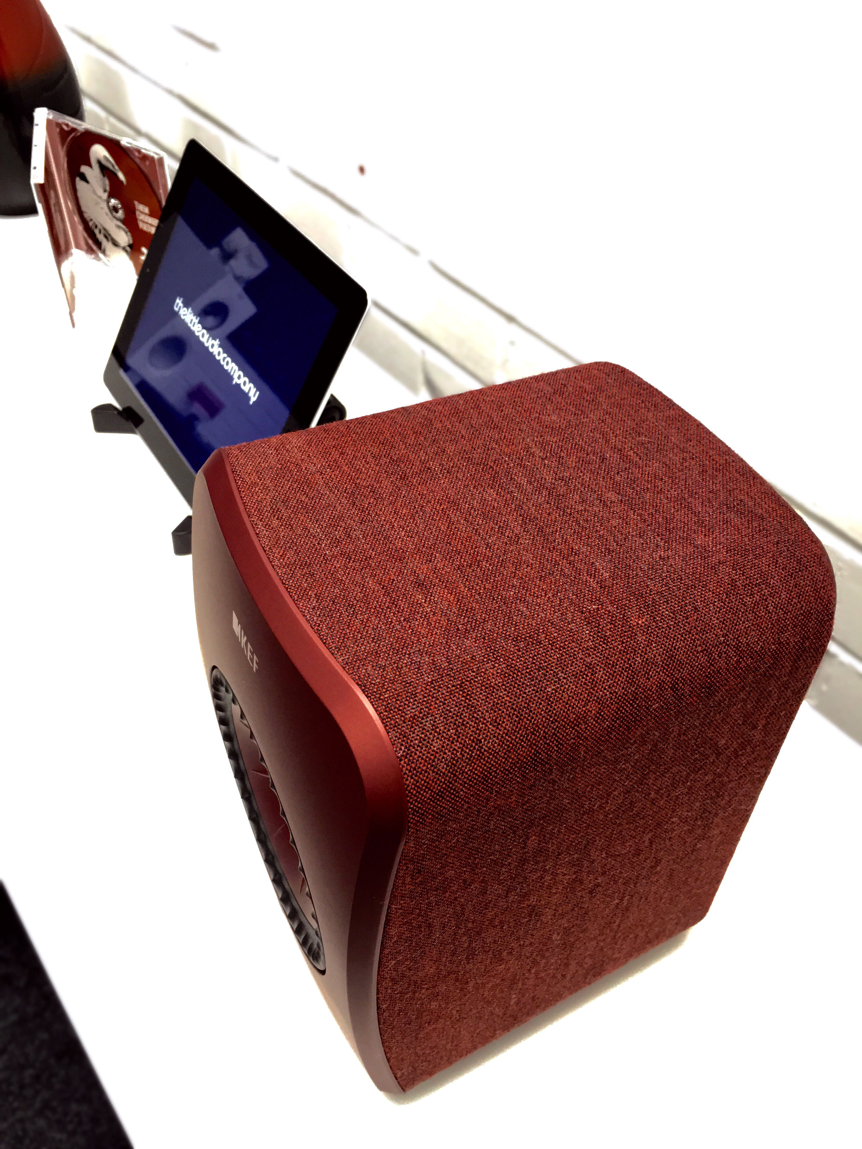 The textured fabric finish of the KEF LSX loudspeakers, a