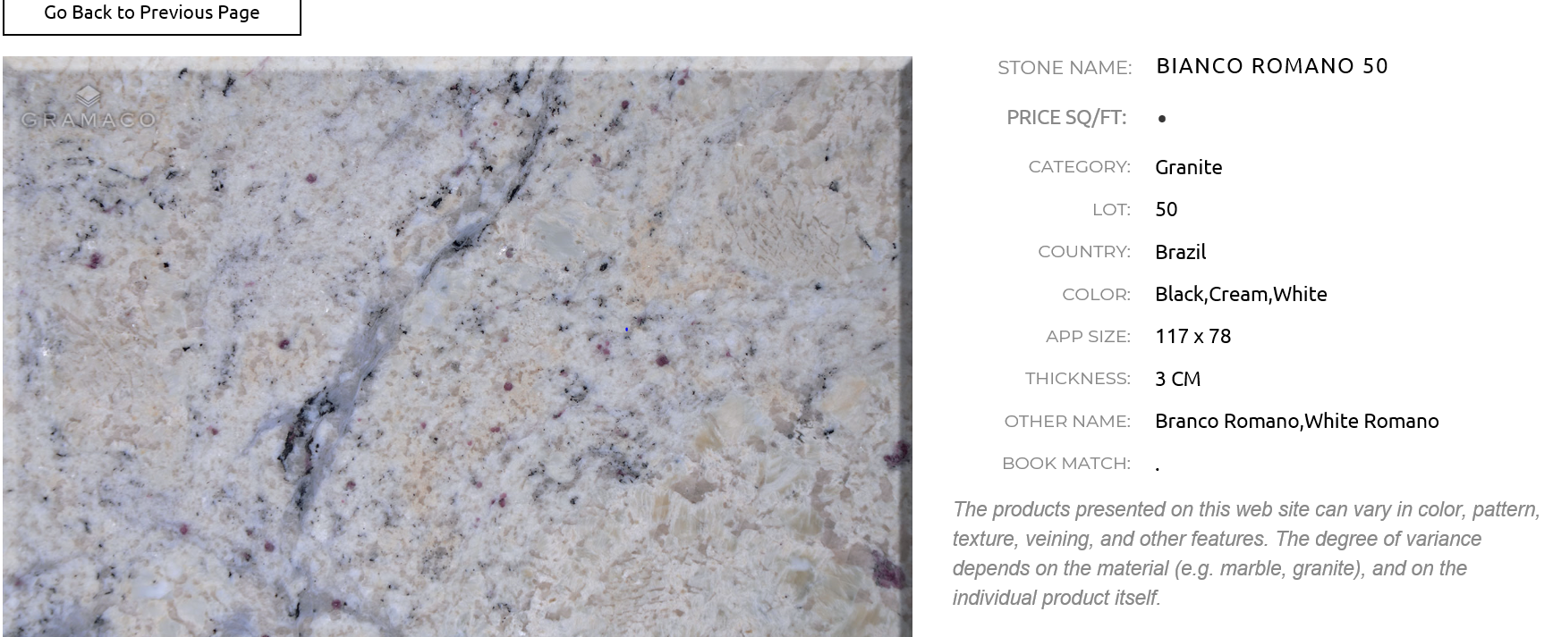 Gramaco Bianco Romano 50 Brazil Colors Granite Bianco