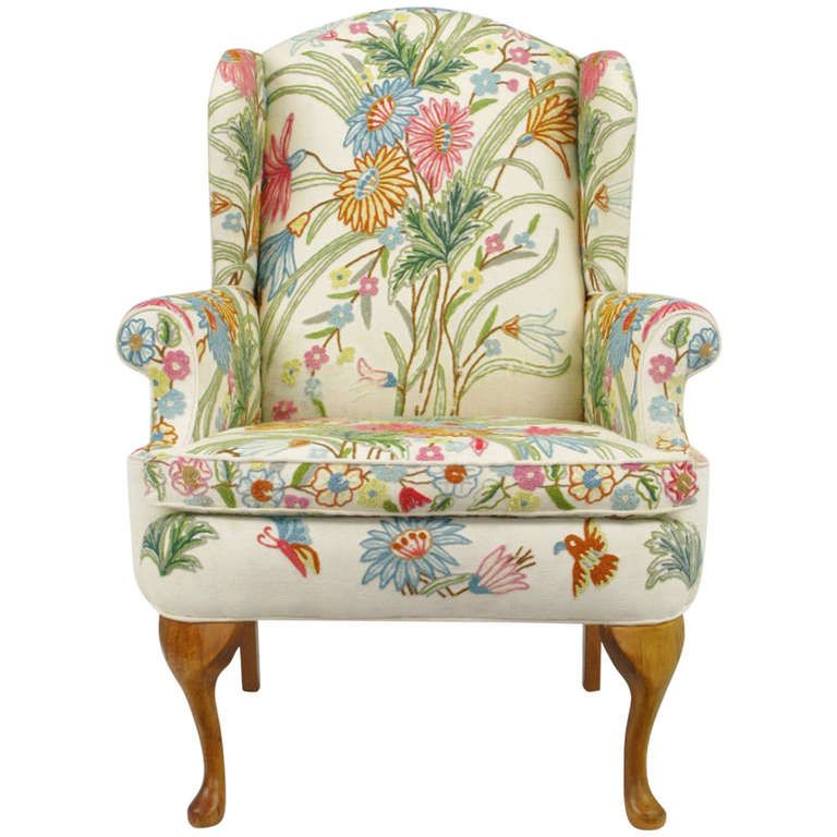 Wool Crewel Upholstered Wing Chair In Colorful Floral At 1stdibs