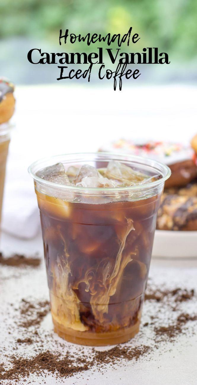 Homemade Caramel Vanilla Iced Coffee, iced coffee at home, how to make iced coffee,…