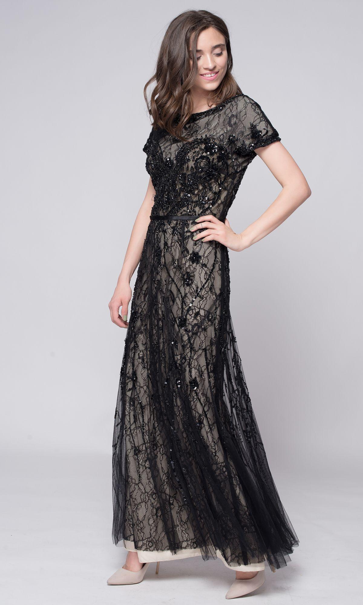 71842f33ee6 Черное кружевное платье в пол