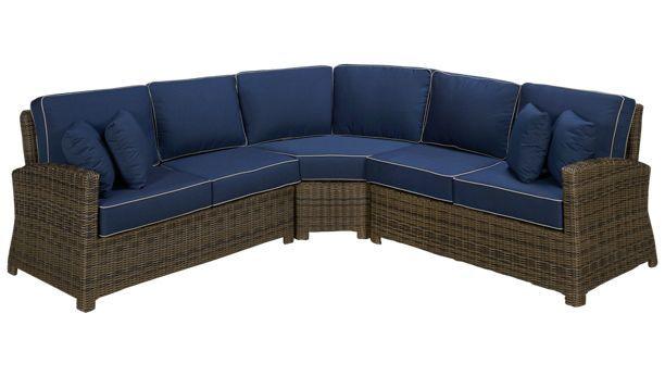 Cape May Wicker Bainbridge 3 Piece Outdoor Sectional Jordan S Furniture