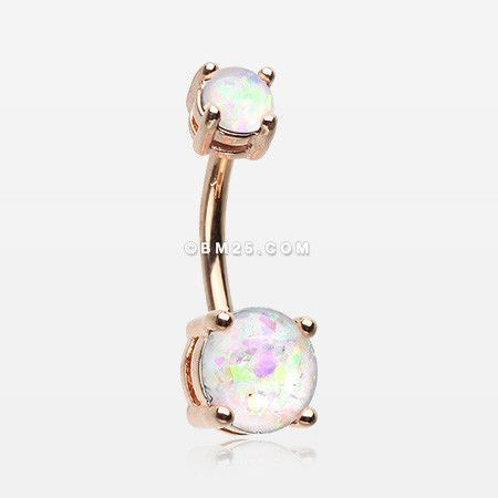 Rose Gold Opal Sparkle Prong Set Belly Button Ring