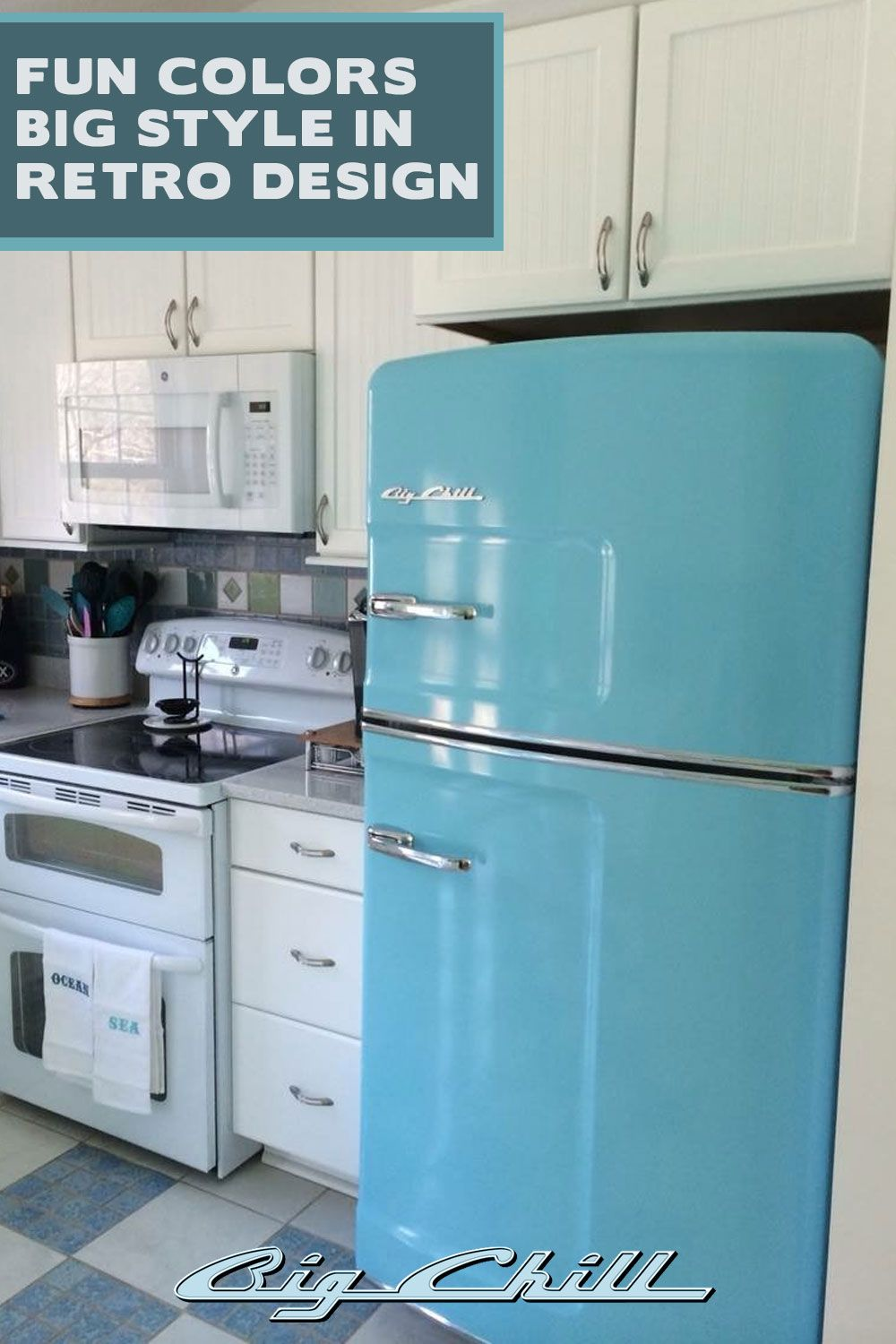 We love this beach blue Big Chill kitchen. What color would your ...