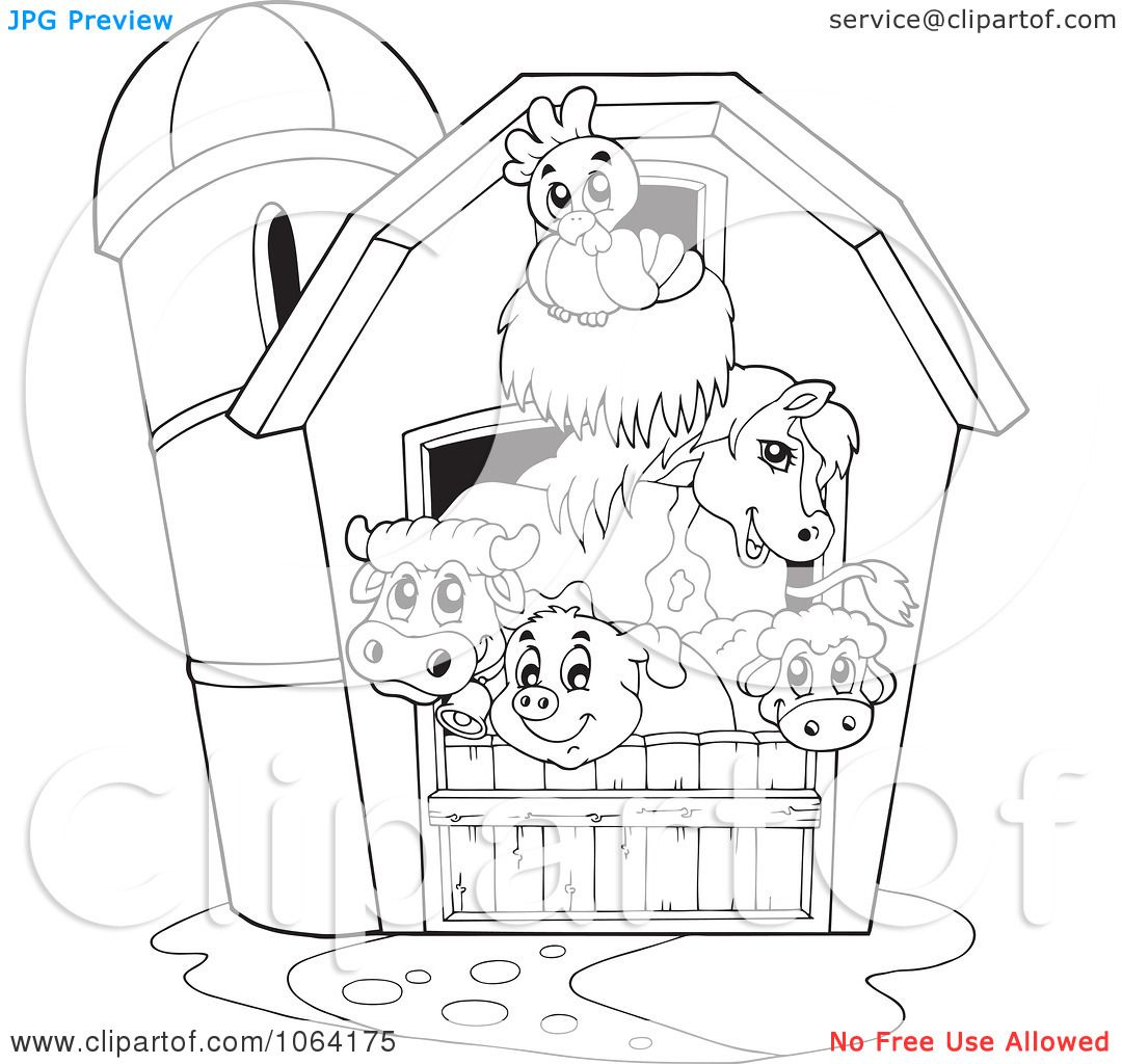 Clipart outlined barnyard animals in a barn royalty free for Barn animals coloring pages