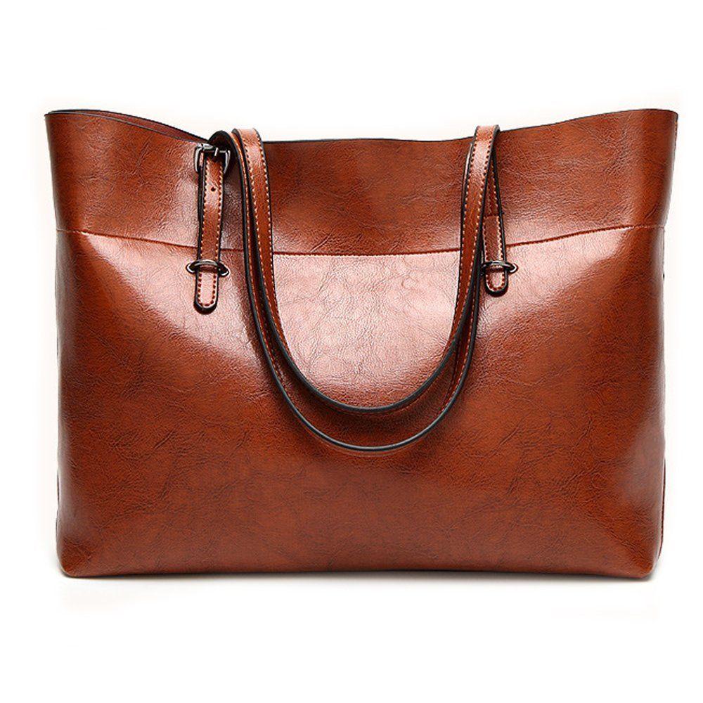 Leather Tote Bag Women Handbag Organizer Large Shoulder Bag Storage Zipper  Brown  fashion  clothing 65a409057dafd