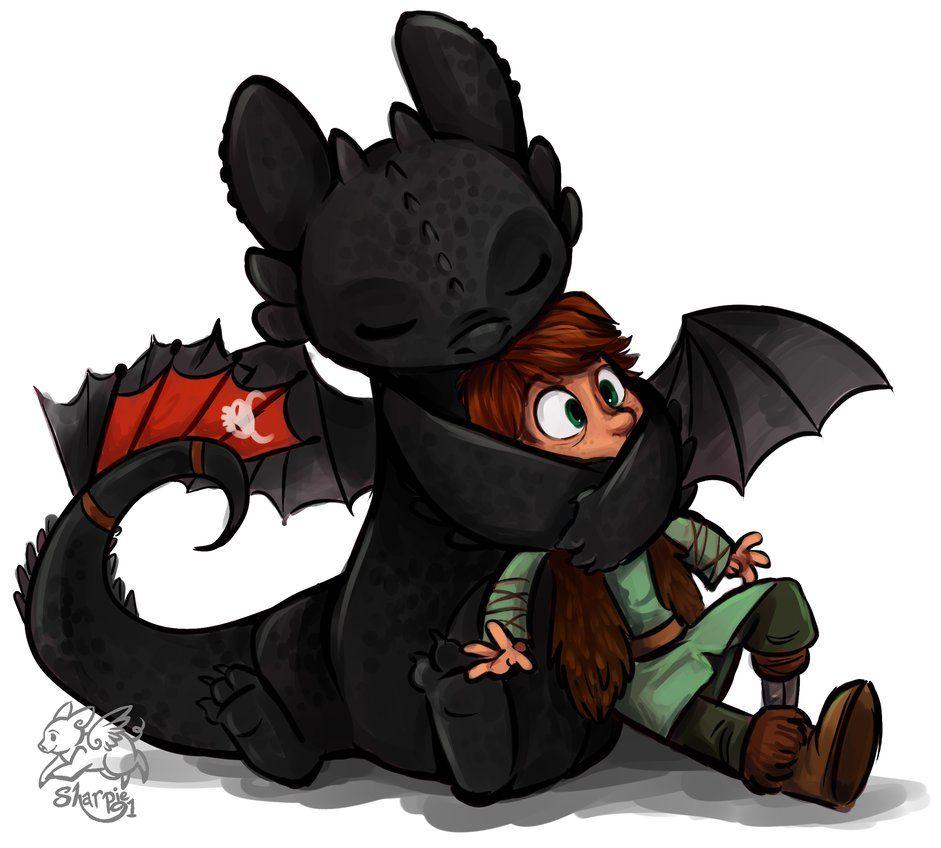 Un Chaleureux Câlin Du Dragon Harold Et Krokmou Mignon