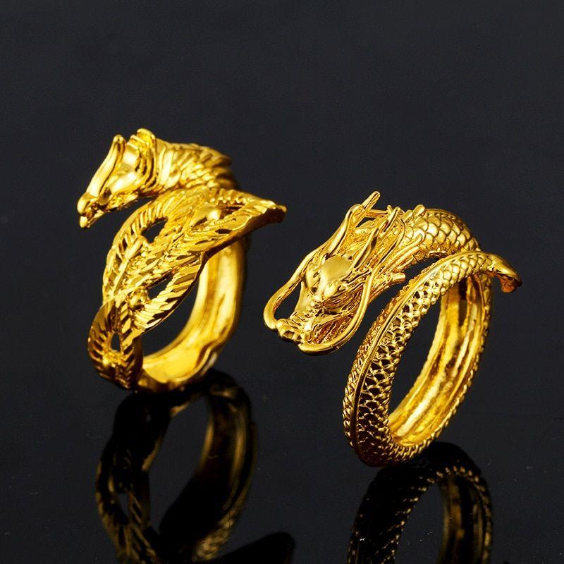 Vietnam Alluvial Gold Dragon Phoenix Couples Wedding Rings Adjustable Jewelry Wholesale In 2020 Gold Dragon Adjustable Jewelry Dragon Ring