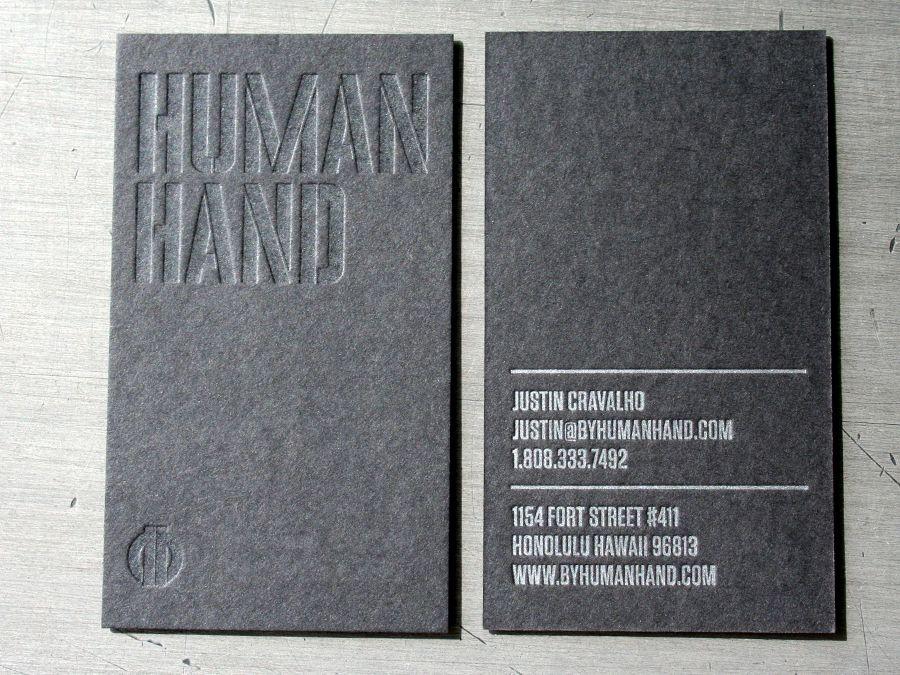 blind letterpress business card printed by studio on fire - letterpress business card