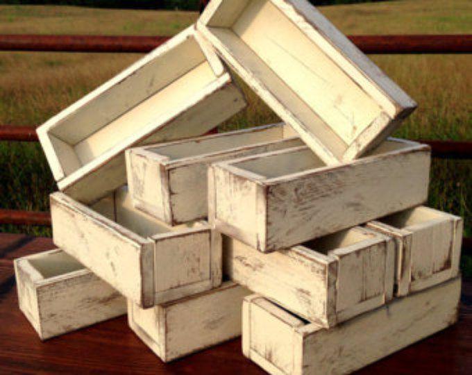 Wedding centerpiece set of 10 planter box distressed wood