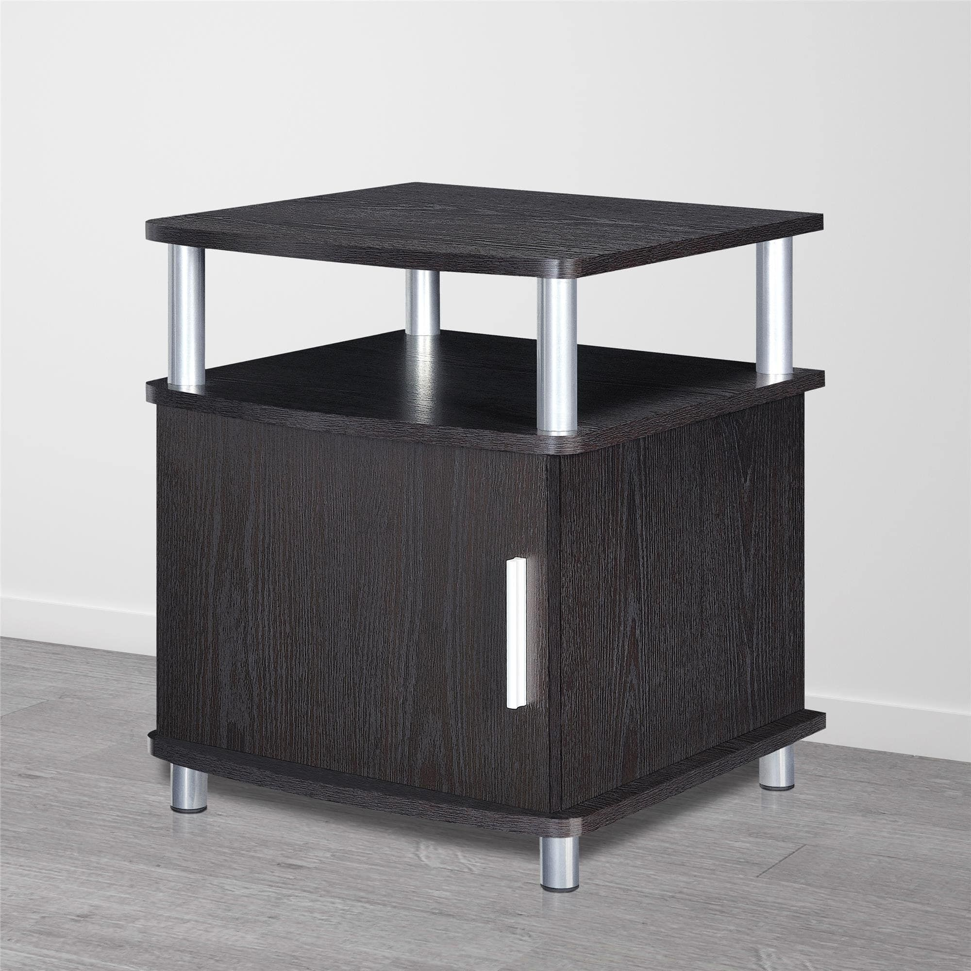 Porch & Den Wicker Park Leavitt Storage End Table Espresso Brown