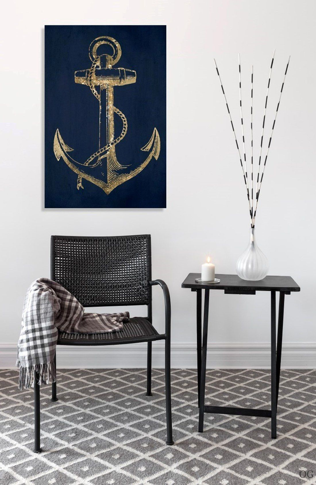 Oliver Gal Gold Anchor Canvas Wall Art Anchor Canvas Canvas Wall Art Anchor Art