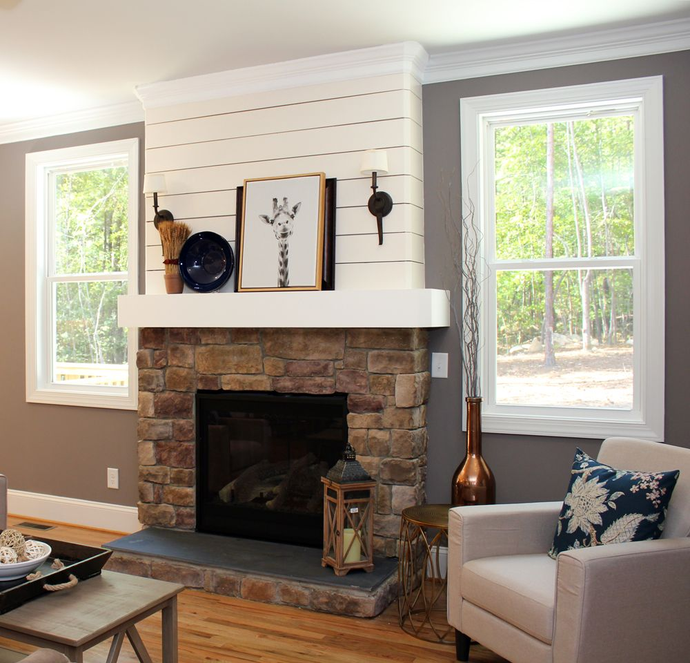 Shiplap And Stone Fireplace Farmhouse Fireplace Decor
