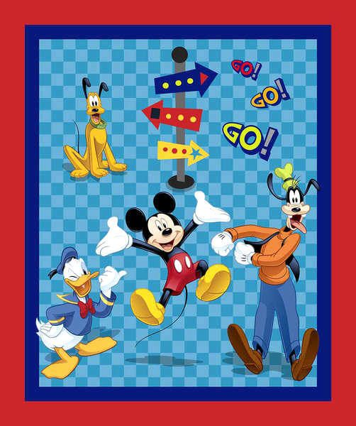 100/% Cotton Patchwork Fabric Springs Creative Disney Mickey and Pluto Panel