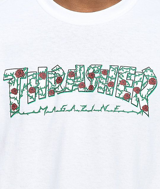 3503dcb79e67 Thrasher Roses White T-Shirt   t h r e a d s   Thrasher, Thrasher ...
