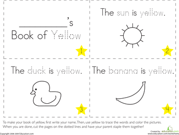 The Color Yellow Color worksheets for preschool
