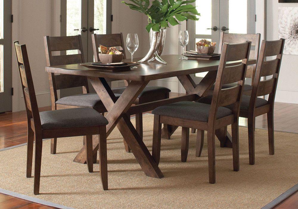 Alston 7 Pcs Dining Set Live Edges Rectangular Table Knotty Nutmeg