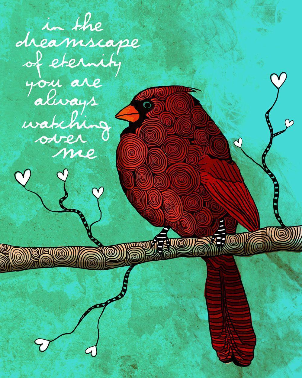Dreamscape / Cardinal / original illustration ART Print SIGNED / 8 x 10 / NEW. $20.00, via Etsy.