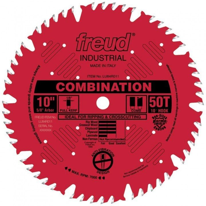 Freud Lu83r Industrial Thin Kerf Heavy Duty Combination Saw Blades In 2020 Sliding Compound Miter Saw Circular Saw Blades Table Saw Blades