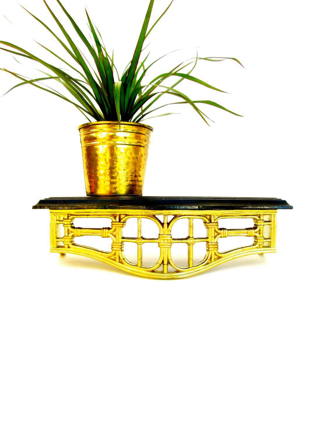 Vintage Gold & Black Faux Bamboo Homco Wall Shelf || Mid-Century ...