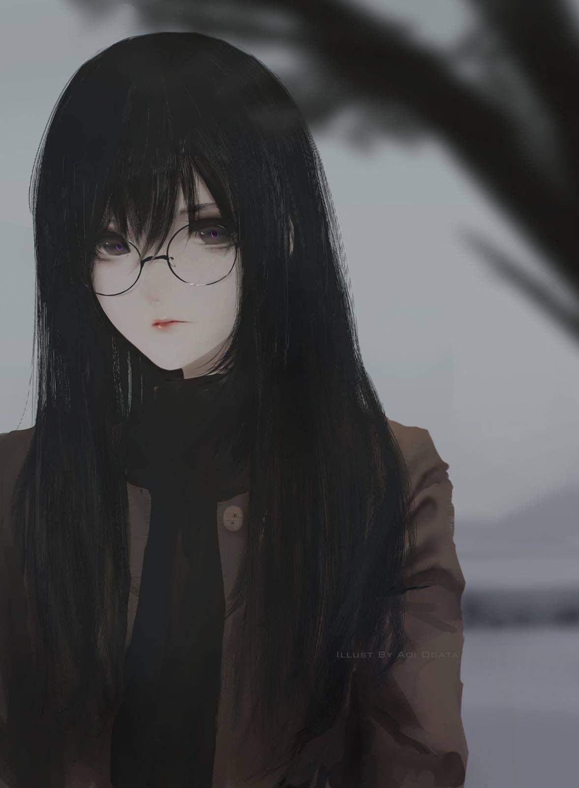 Anime Girl With Long Black Hair And Bangs : anime, black, bangs, Anime, Black, Bangs, Drawing, Ideas