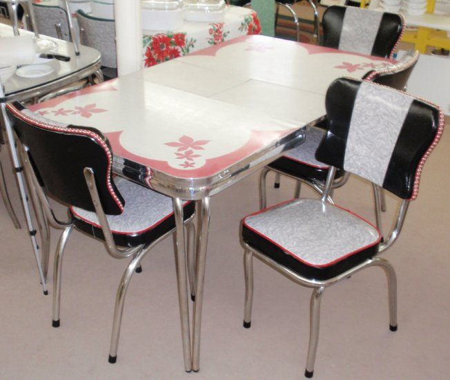 Red Kitchen Table And Chairs Set: Restored Vintage Red Gray Inlaid Formica Dinette Table W