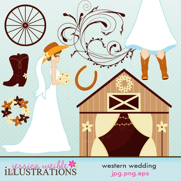Western Wedding Clipart Set Comes With 8 Cute Cliparts Including A Bride Wearing Cowboy Boots Hat Barn An Elegant Flourish