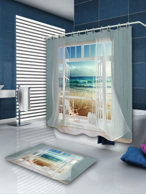 Window Frame Ocean Scene Printing Shower Curtain Cool Shower