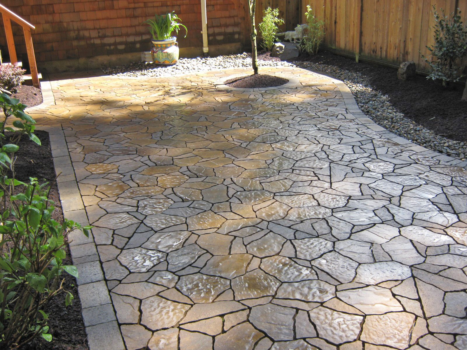 Stone patio ideas landscape archives dennis 39 7 dees backyard pinterest patios - Concrete backyard design ...