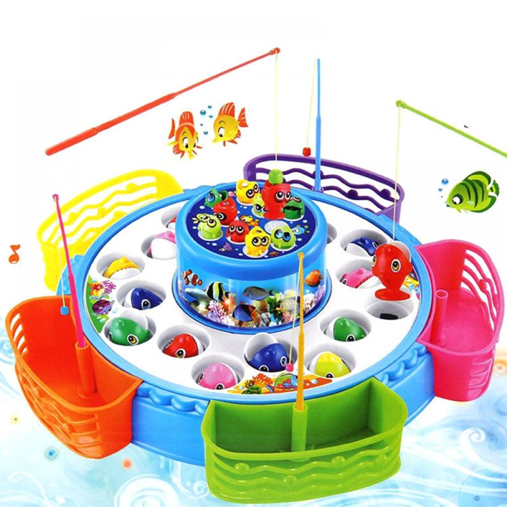 Electric Rotating Magnetic Fishing Game Toy with the Music /& Light for Kids Boys