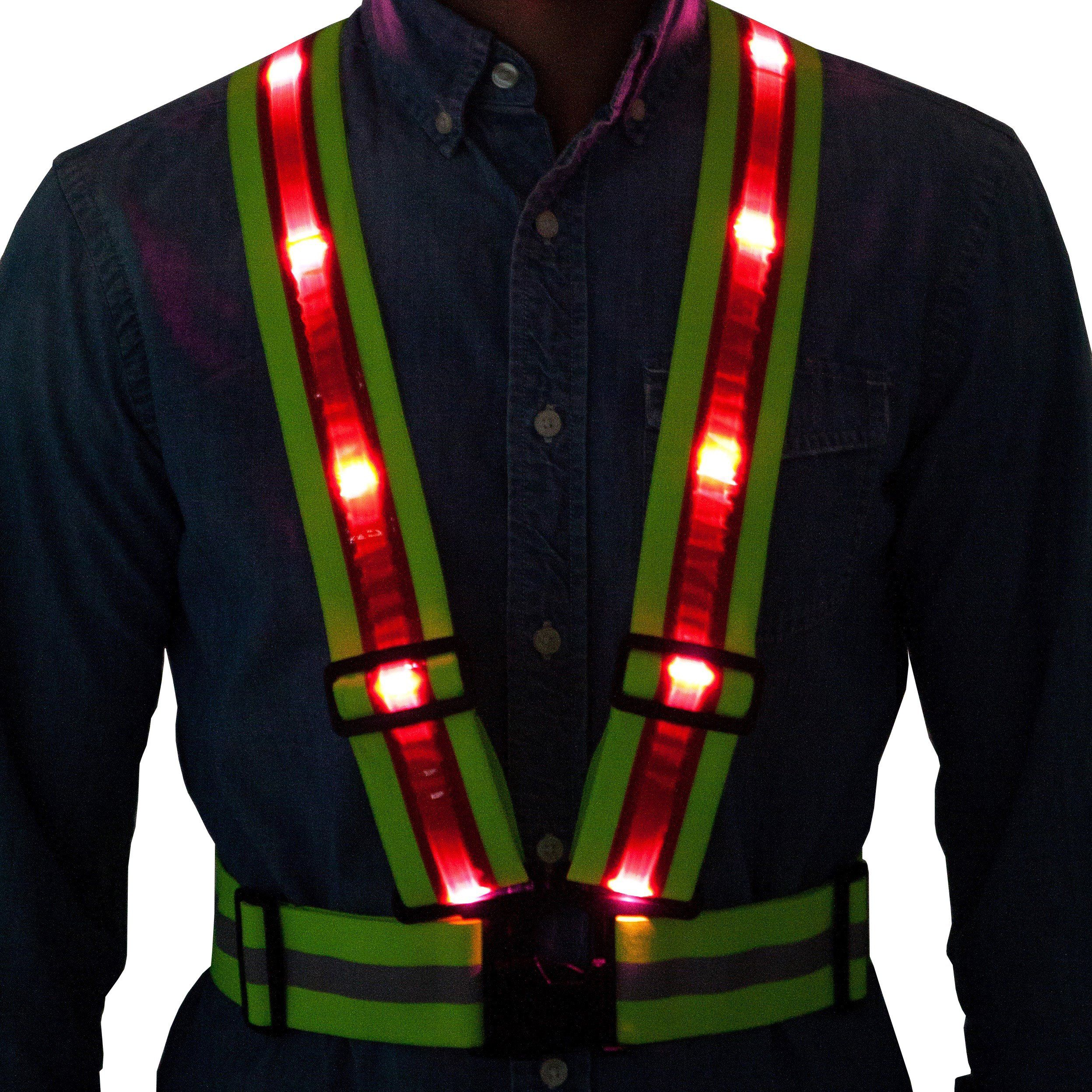 LED Reflective Safety Vest from Tuvizo with Storage Bag