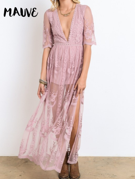 As You Wish Womens Embroidered Lace Maxi Dress In More