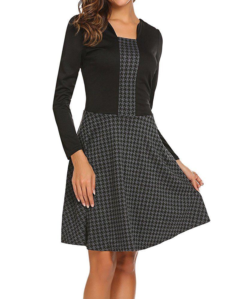 Damen Herbst Elegantes Langarm A-Linie Kleid Business Kleid 2 in 1 ...
