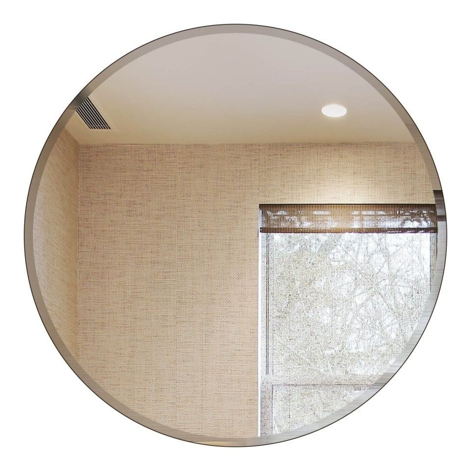 Round Beveled Polished Frameless Wall Mirror With Hooks With