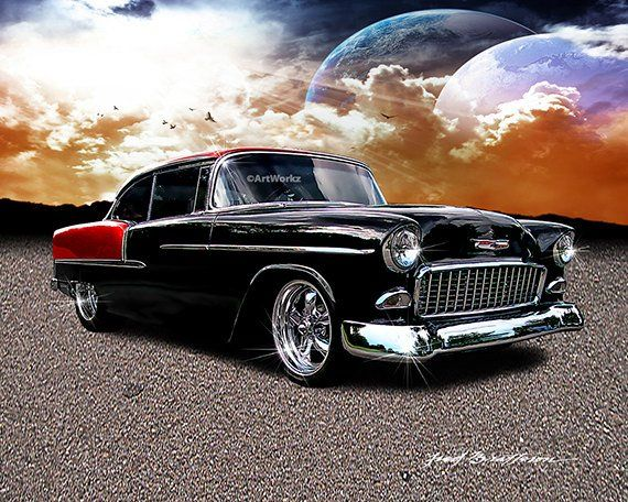 Classic Cars Print 1955 Chevrolet Corvette