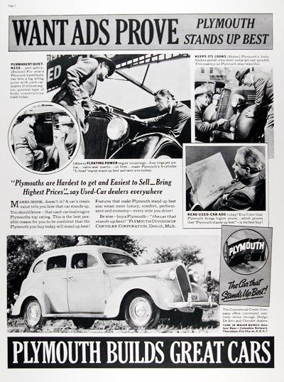 1938 Plymouth Sedan Original Vintage Adver Want Ads Prove Stands Up Best With Permanent Quietness Floating Engine Mountings