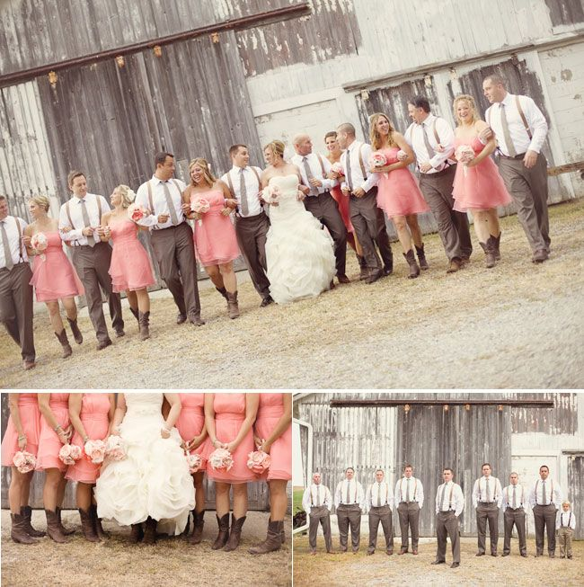 Camo Wedding Ideas Rustic Barn: Rustic Barn In Background With Bridesmaids In Pink Dresses
